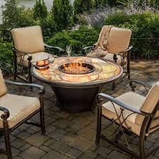 Agio Patio Furniture by Agio Cirrus Gas Fire Pit With Bronze Chat Base