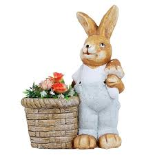 rabbit planter planters pot animal statue garden pot and