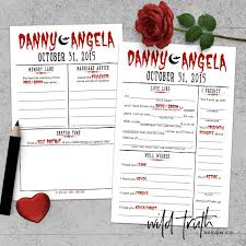 halloween wedding guest book game custom u2013 wild truth design co
