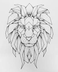 nawden art drawing ink geometric sketch lion leo tattoo