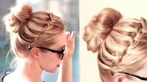 tutorial hairstyles for medium length hair waterfall bun hairstyle for everyday medium hair