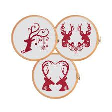 Free Cross Stitch Christmas Ornament Patterns Cross Stitch Patterns Deer Deers Together Deers U0026 Love