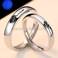 name wedding rings images Custom name heartbeat silver wedding bands for 2 personalized png