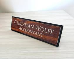Desk Name Plates Wood Personalised Wooden Desk Name Plate Custom Name Plaque