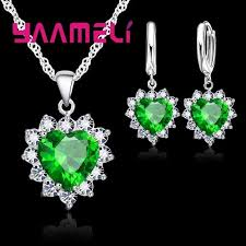 silver jewellery necklace sets images Yaameli love 925 sterling silver jewelry sets for wedding women jpg