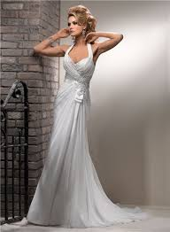 a line halter corset back chiffon beach wedding dress with lace pearls