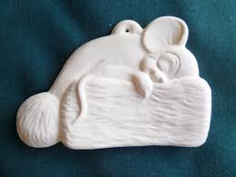 christmas ornament ceramic bisque ready to paint mouse santa hat