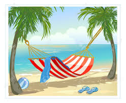 hammock palm trees on the beach vector illustration royalty free