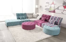 gorgeous modular sectional sofa in family room modern with retro