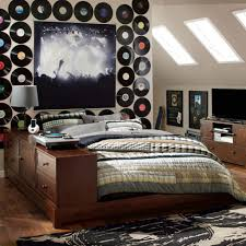 music theme tween bedroom with wooden bed frame decorating ideas