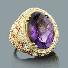 jewelry large rings images Large amethyst cocktail ring with diamonds and pink sapphires 18k gold jpg