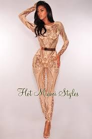 sleeve sequin jumpsuit gold sequins mesh unlined jumpsuit