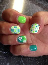 nail shellac gelish gel nails nail art cute green teal blue fade