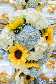sunflower centerpiece hydrangea and sunflower centerpiece on thanksgiving table with