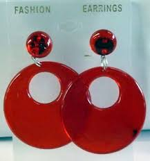 70s earrings pierced earrings hoops translucent 70s earrings 1980s 1970s