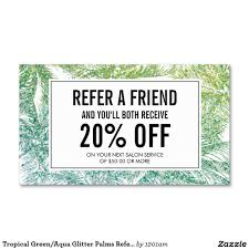 tropical green aqua glitter palms referral card spray tanning