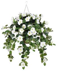 white flower arrangements artificial white petunia in square hanging basket transitional
