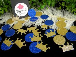 royal prince baby shower decoration crown confetti gold zoom