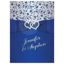 25th wedding anniversary invitation royal blue silver floral