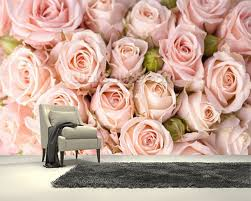custom photo textile wallcoverings bright pink roses 3d murals