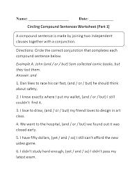 compound sentences worksheets circling compound sentences
