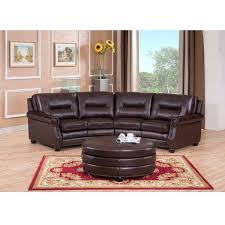 Curved Ottoman Delta Chocolate Brown Curved Top Grain Leather Sectional Sofa And
