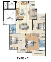 3bhk typical floor plan type c lowcosthousing online
