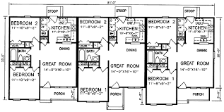 multi level floor plans multi family plan 45364 at familyhomeplans com