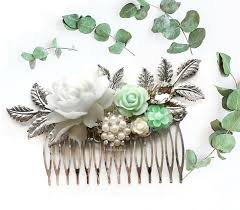 wedding hair comb silver mint green wedding hair comb pastel green white bridal