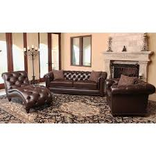 Overstock Living Room Sets Abbyson Carmela Brown Top Grain Leather Chesterfield 3