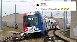Train Meme - this train caught in between two tracks has indian twitterati in