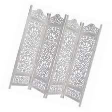 White Room Divider Screen Room Divider 4 Panel Wood Hand Carved Screen Folding Reversible
