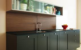 Black Kitchen Wall Cabinets Interior Glass Kitchen Backsplash Combined With Blue Led Light