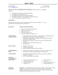 Resume Samples For Machine Operator by Computer Operator Sample Resume Housekeeping Aide Sample Resume