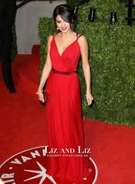 Red Carpet Gowns Sale by Selena Gomez Red V Neck Chiffon Prom Gown Oscars 2011 Red Carpet