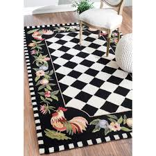 unique in style this rooster hand hooked rug features a country