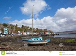 The Inner Of Beautifully Painted Houses Tobermory Isle Of Mull Scotland Uk Sailing Boat And Colourful
