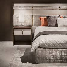 luxury italian bed with large nubuck leather headboard juliettes