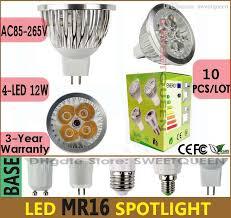 10x dimmable led lamp ac dc12v mr16 12w spotlight bulb 4 led cool