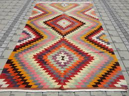 multicolored rhombus shaped vintage antique handmade turkish kilim