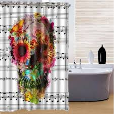 halloween lace curtains 180x180cm 3d waterproof halloween colorful skull polyester shower
