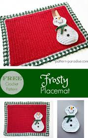 12weekschristmascal frosty placemat pattern paradise red
