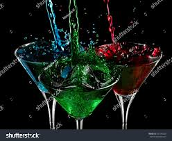 martini cocktail splash red green blue cocktails splash martini stock photo 101246320
