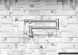 Modern White Glass Metal Backsplash Espresso Kitchen Cabinet - Glass and metal tile backsplash