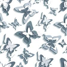 stylish seamless pattern with white grey butterflies stock