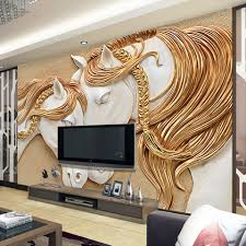 wall paper picture more detailed picture about high quality high quality custom photo wallpaper 3d stereo embossed horse living room tv backdrop wall mural art