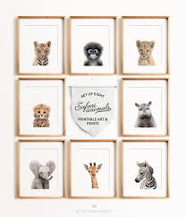 safari animal prints set of 8 baby animals africa u0026 asia the