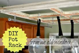 Using Old Window Frames To Decorate Thrifty Decorating Turn An Old Window Into A Pot Rack