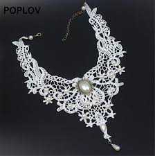 vintage lace collar necklace images Vintage black white lace choker necklace charm ribbon wedding jpg