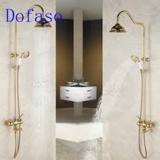 online get cheap shower bath kit aliexpress com alibaba group dofaso quality antique bath rain gold shower faucet set 8 head shower vintage all brass bath shower kit gold tap
